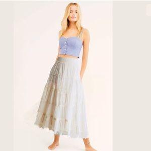 LAPIS Boho Lace Ruffles Skirt Ivory Festival Large